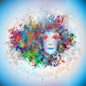 Mandala d'un visage avec des fleurs